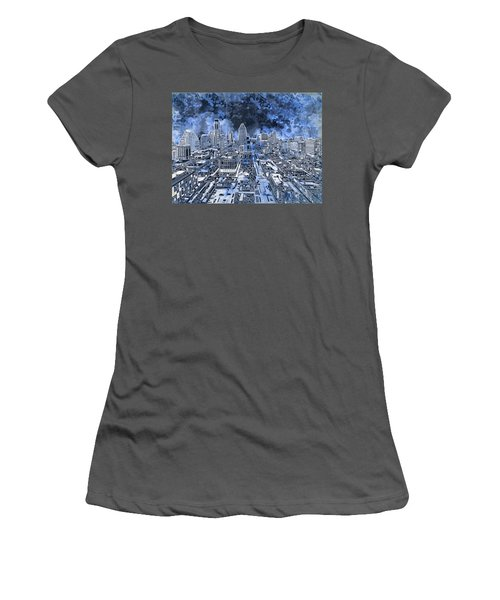 Austin Texas Abstract Panorama 5 Women's T-Shirt (Junior Cut) by Bekim Art