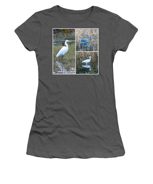 Birds On Pond Collage Women's T-Shirt (Junior Cut) by Carol Groenen