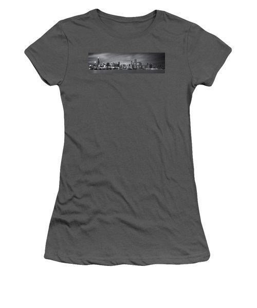 Chicago Skyline At Night Black And White Panoramic Women's T-Shirt (Junior Cut) by Adam Romanowicz