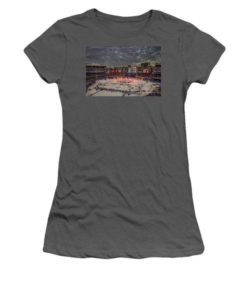 Hockey At Yankee Stadium Women's T-Shirt (Junior Cut) by David Rucker