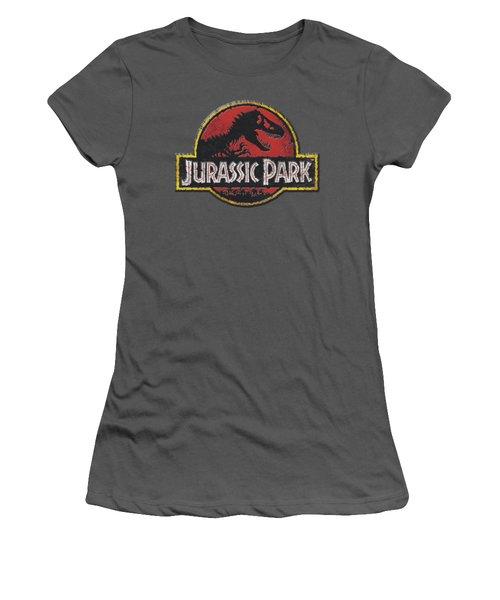 Jurassic Park - Stone Logo Women's T-Shirt (Junior Cut) by Brand A