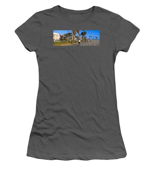 People Riding Bicycles Near A Beach Women's T-Shirt (Junior Cut) by Panoramic Images