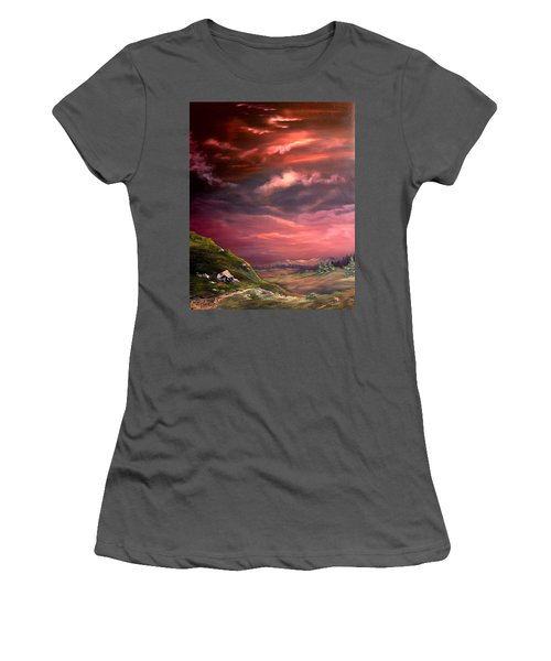 Red Sky At Night Women's T-Shirt (Junior Cut) by Jean Walker