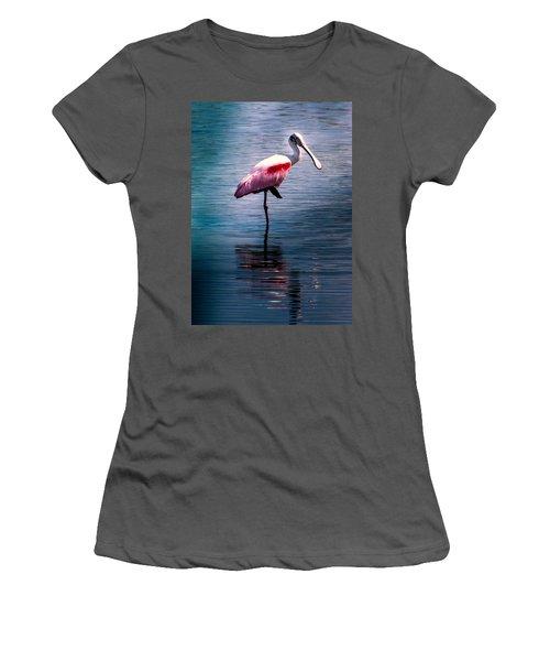 Roseate Spoonbill Women's T-Shirt (Junior Cut) by Karen Wiles