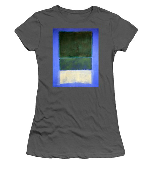Rothko's No. 14 -- White And Greens In Blue Women's T-Shirt (Junior Cut) by Cora Wandel