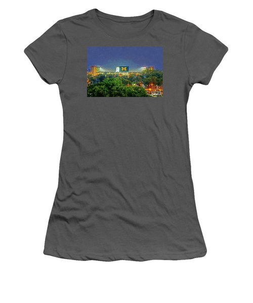 Stadium At Night Women's T-Shirt (Junior Cut) by John Farr