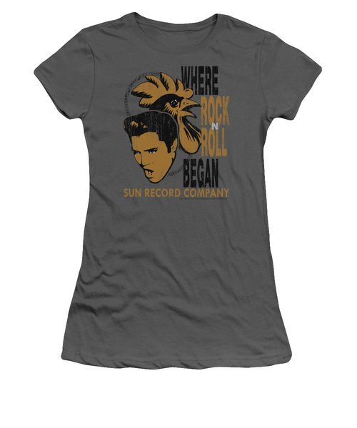 Sun - Elvis And Rooster Women's T-Shirt (Junior Cut) by Brand A