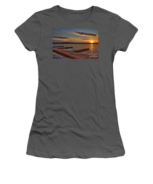 Sunset Docks On Lake Oconee Women's T-Shirt (Junior Cut) by Reid Callaway