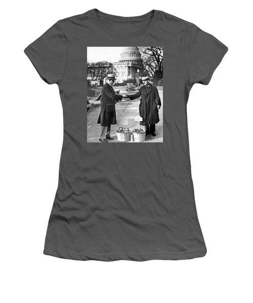 Unemployed Man Sells Apples Women's T-Shirt (Junior Cut) by Underwood Archives