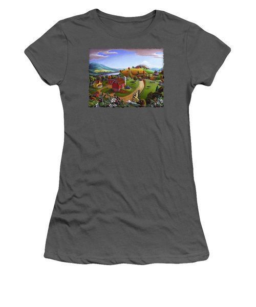 Folk Art Blackberry Patch Rural Country Farm Landscape Painting - Blackberries Rustic Americana Women's T-Shirt (Junior Cut) by Walt Curlee