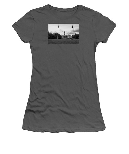Old Main Penn State Black And White  Women's T-Shirt (Junior Cut) by John McGraw
