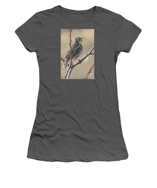 Western Meadowlark Women's T-Shirt (Junior Cut) by Frank Townsley