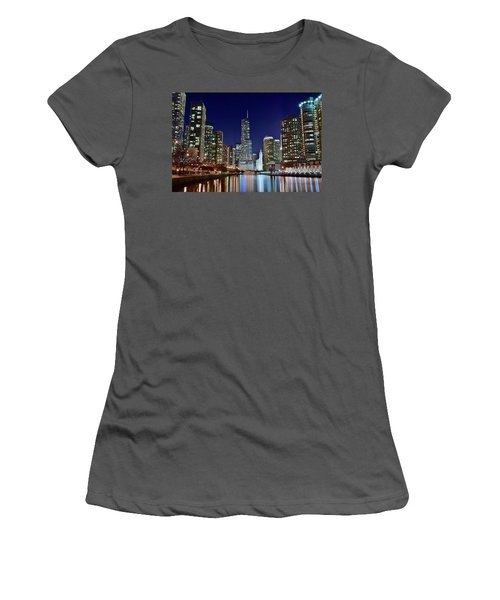 A View Down The Chicago River Women's T-Shirt (Junior Cut) by Frozen in Time Fine Art Photography