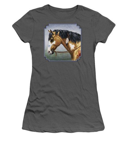 Buckskin Native American War Horse Women's T-Shirt (Junior Cut) by Crista Forest