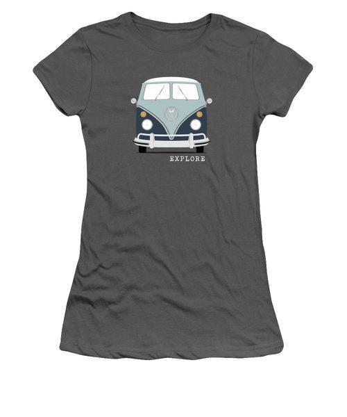 Vw Bus Blue Women's T-Shirt (Junior Cut) by Mark Rogan