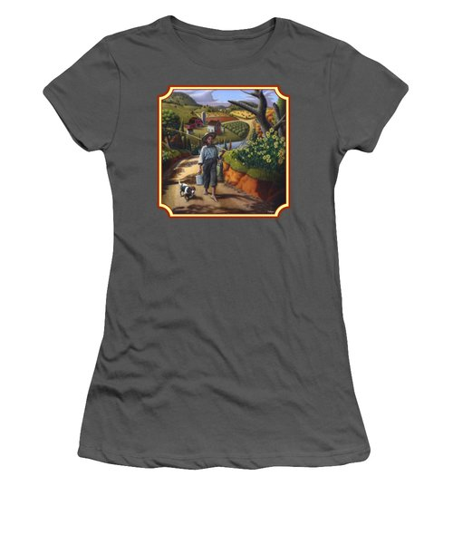 Boy And Dog Country Farm Life Landscape - Square Format Women's T-Shirt (Junior Cut) by Walt Curlee