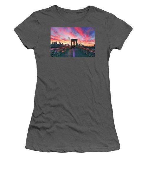 Brooklyn Sunset Women's T-Shirt (Junior Cut) by Rick Berk