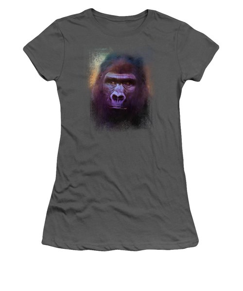 Colorful Expressions Gorilla Women's T-Shirt (Junior Cut) by Jai Johnson