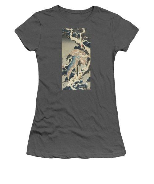 Cranes On Pine Women's T-Shirt (Junior Cut) by Hokusai
