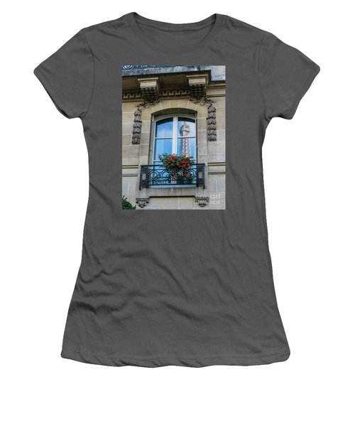 Eiffel Tower Paris Apartment Reflection Women's T-Shirt (Junior Cut) by Mike Reid