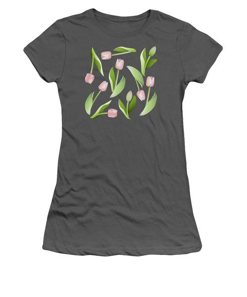 Elegant Chic Pink Tulip Floral Patten Women's T-Shirt (Junior Cut) by Wind-Up Sprout Design