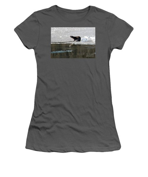 Frosty River Otter  Women's T-Shirt (Junior Cut) by Mike Dawson