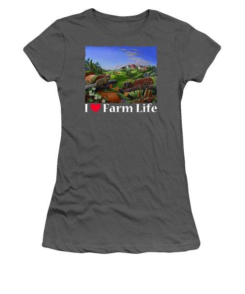I Love Farm Life T Shirt - Spring Groundhog - Country Farm Landscape 2 Women's T-Shirt (Junior Cut) by Walt Curlee