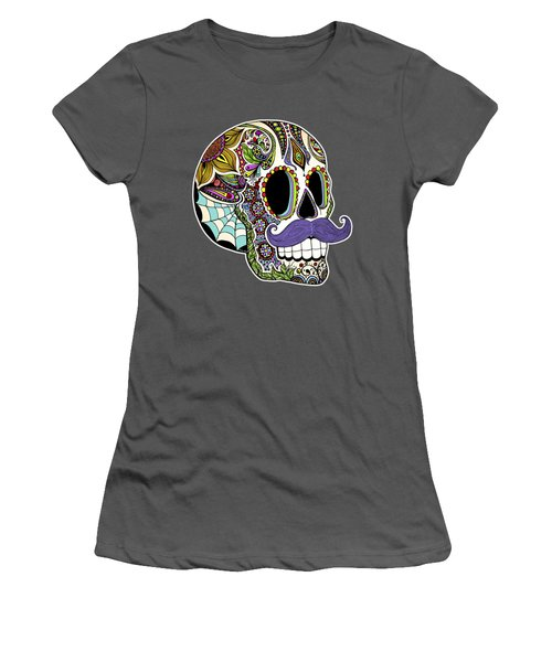 Mustache Sugar Skull Women's T-Shirt (Junior Cut) by Tammy Wetzel