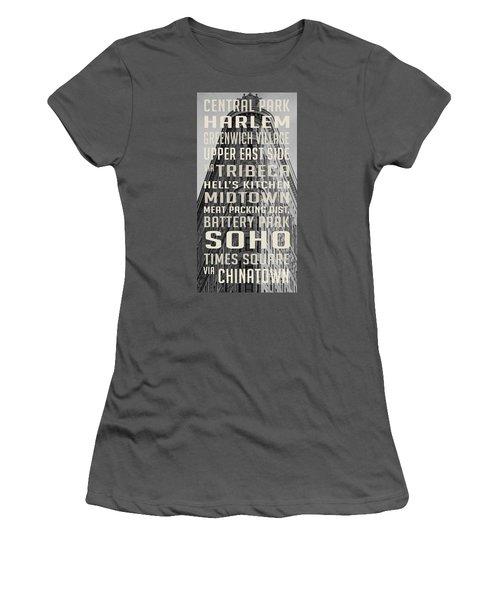 New York City Subway Stops Flat Iron Building Women's T-Shirt (Junior Cut) by Edward Fielding