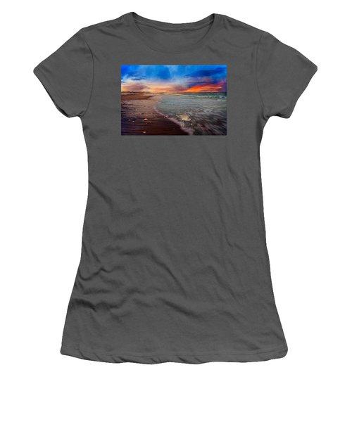 Sandpiper Sunrise Women's T-Shirt (Junior Cut) by Betsy Knapp