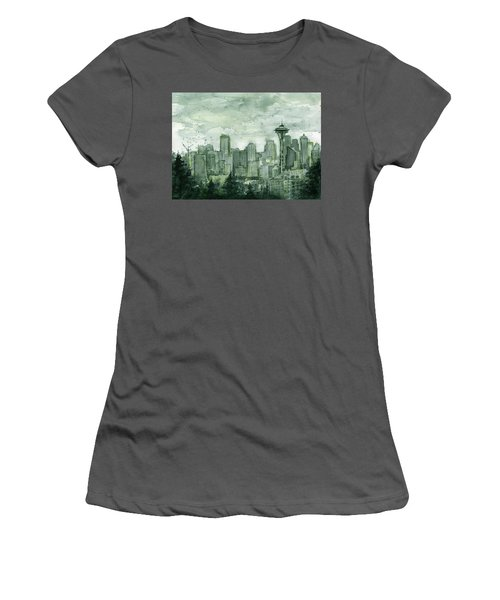 Seattle Skyline Watercolor Space Needle Women's T-Shirt (Junior Cut) by Olga Shvartsur