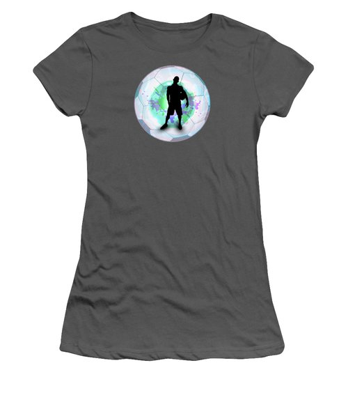 Soccer Player Posing With Ball Soccer Background Women's T-Shirt (Junior Cut) by Elaine Plesser