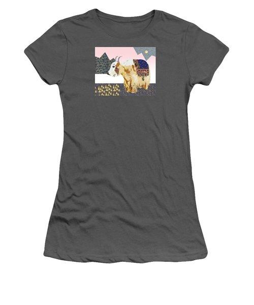 Tibet Yak Collage Women's T-Shirt (Junior Cut) by Claudia Schoen