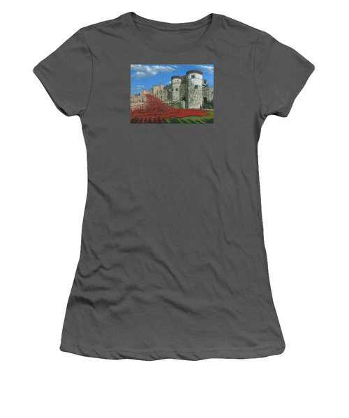 Tower Of London Poppies - Blood Swept Lands And Seas Of Red  Women's T-Shirt (Junior Cut) by Richard Harpum