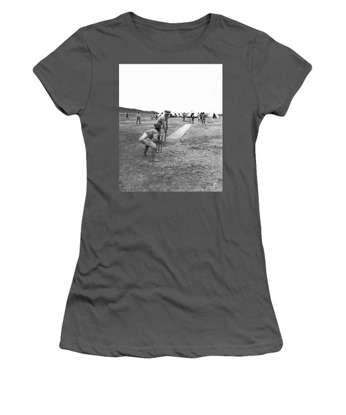 Troops Playing Cricket Women's T-Shirt (Junior Cut) by Underwood Archives