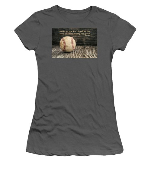 Vintage Baseball Babe Ruth Quote Women's T-Shirt (Junior Cut) by Terry DeLuco