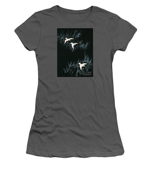 Vintage Japanese Illustration Of Three Cranes Flying In A Night Landscape Women's T-Shirt (Junior Cut) by Japanese School