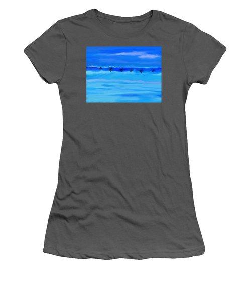Vol De Pelicans Women's T-Shirt (Junior Cut) by Aline Halle-Gilbert