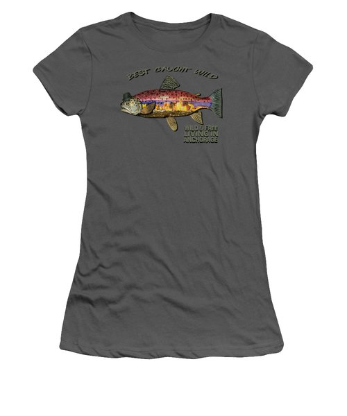 Wild And Free In Anchorage-trout With Hat Women's T-Shirt (Junior Cut) by Elaine Ossipov