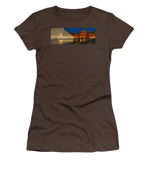 Pyramid At A Museum, Louvre Pyramid Women's T-Shirt (Junior Cut) by Panoramic Images