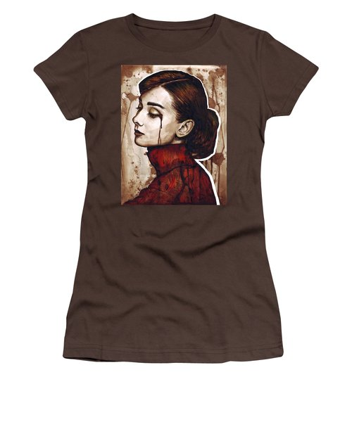 Audrey Hepburn Portrait Women's T-Shirt (Junior Cut) by Olga Shvartsur