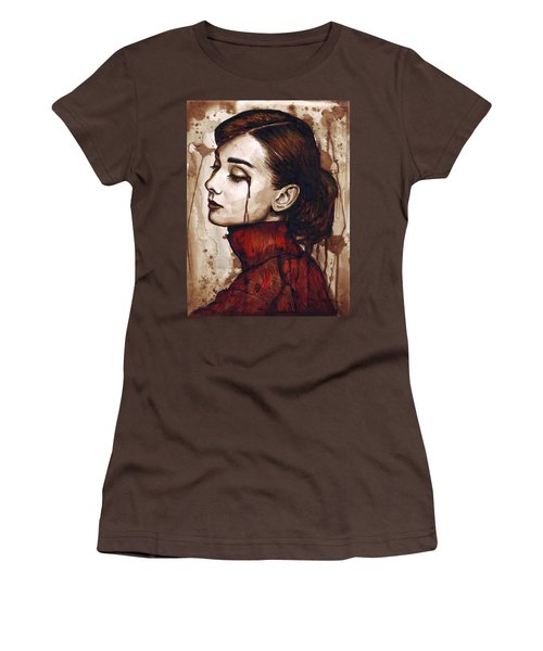 Audrey Hepburn - Quiet Sadness Women's T-Shirt (Junior Cut) by Olga Shvartsur
