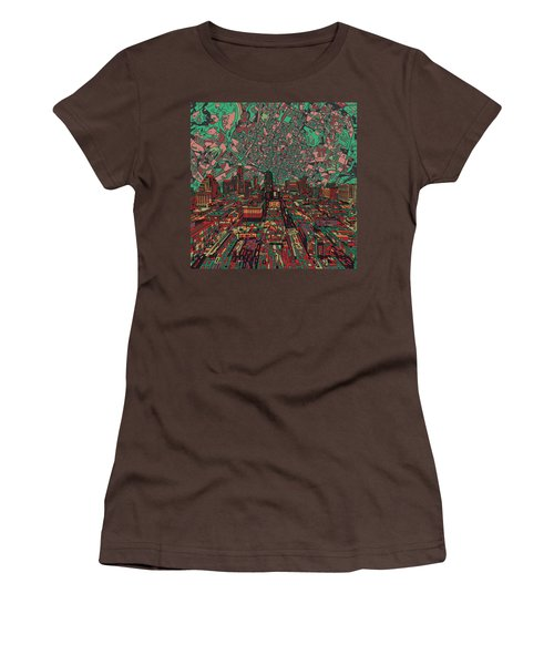 Austin Texas Vintage Panorama 3 Women's T-Shirt (Junior Cut) by Bekim Art