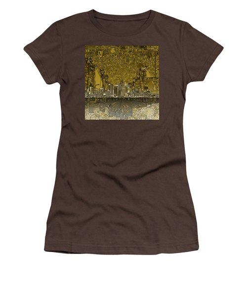 Los Angeles Skyline Abstract 4 Women's T-Shirt (Junior Cut) by Bekim Art