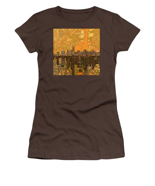 Miami Skyline Abstract 5 Women's T-Shirt (Junior Cut) by Bekim Art