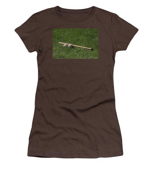 Softball Baseball And Bat Women's T-Shirt (Junior Cut) by Bill Cannon