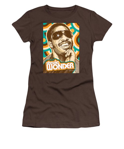 Stevie Wonder Pop Art Women's T-Shirt (Junior Cut) by Jim Zahniser