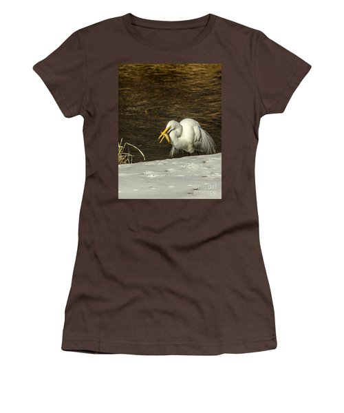 White Egret Snowy Bank Women's T-Shirt (Junior Cut) by Robert Frederick
