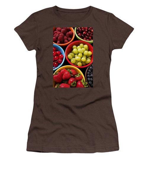 Bowls Of Fruit Women's T-Shirt (Junior Cut) by Garry Gay