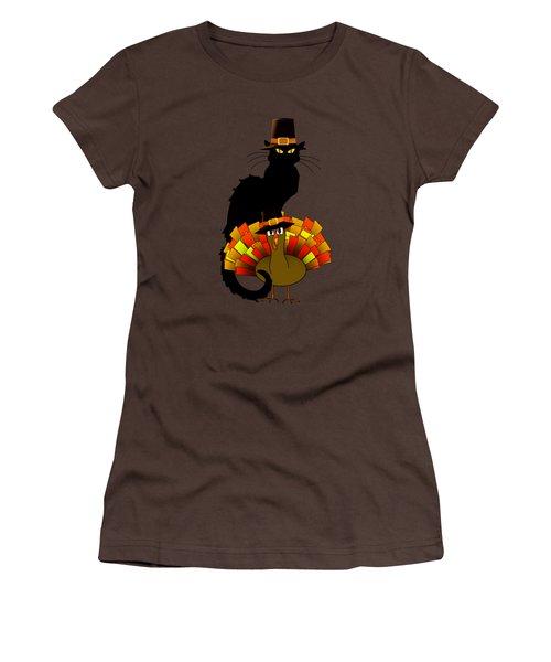 Thanksgiving Le Chat Noir With Turkey Pilgrim Women's T-Shirt (Junior Cut) by Gravityx9  Designs